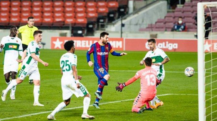 Hasil Pertandingan Barcelona Menang atas Elche di Liga Spanyol, Lionel Messi Meliuk-Liuk Cetak 2 Gol