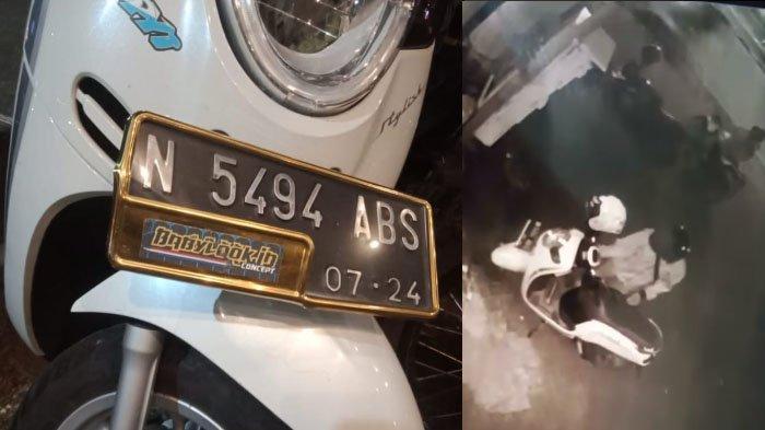 Maling Terekam CCTV Mencuri Motor Honda Scoopy di Parkiran Toko Jl Soekarno Hatta, Kota Malang