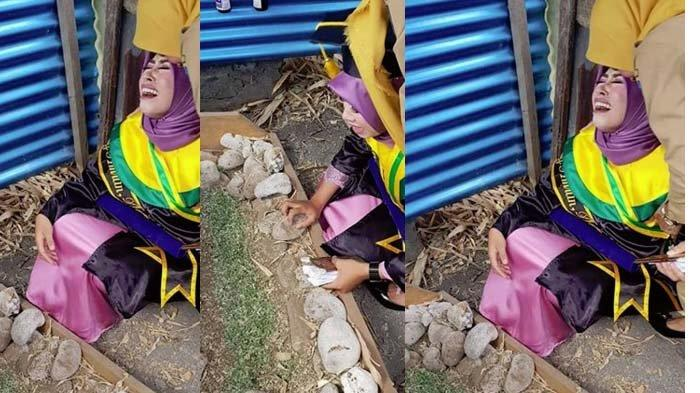 Masih Pakai Toga Wisuda, Gadis Ini Menangis Histeris di Samping Makam Ibunya Hingga Viral di Medsos