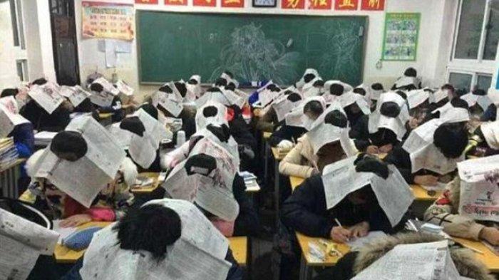 Murid di China Harus Pakai Topi Aneh ini Ketika Ujian, Mengejutkan, Ternyata ini Tujuannya