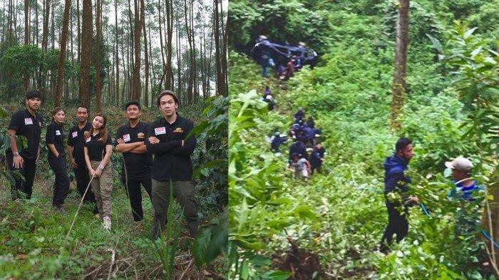 Jordi Onsu dan Tim yang menjalani syuting di Malang dan kondisi mobil Toyota Avanza yang mengalami kecelakaan masuk jurang di Ngadas, Poncokusumo Kabupaten Malang, Kamis (8/4/2021)