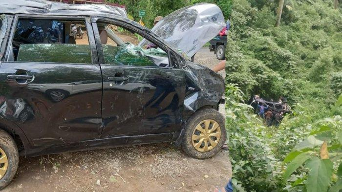 Kondisi mobil Avanza rombongan Jordi Onsu yang masuk jurang di kawasan Ngadas, Poncokusumo, Kabupaten Malang, Kamis (8/4/2021).