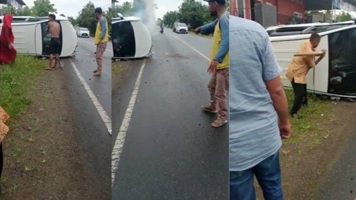 Suasana Panik Mobil Pengantin Terguling di Tengah Jalan Diselamatkan Warga, 7 Orang Tak Bisa Keluar