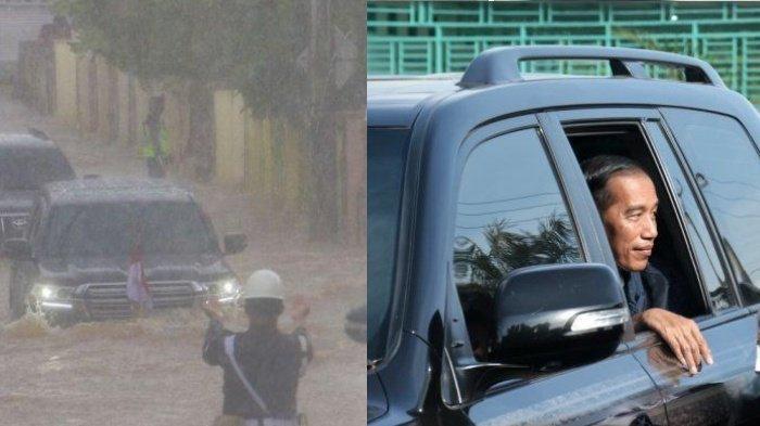 Mobil Presiden Jokowi mampu terjang banjir dengan ketinggian betis orang dewasa viral.