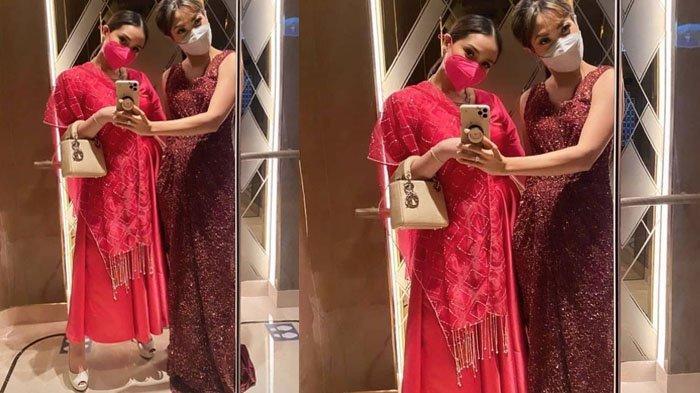 Nagita Slavina tampil beda di henna night Aurel Hermansyah selfie bersama Ayu Dewi
