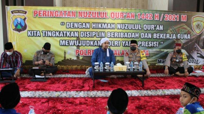 Polresta Malang Kota Gelar Peringatan Nuzulul Quran 1442 H, Beri Santunan Bagi Anak Yatim