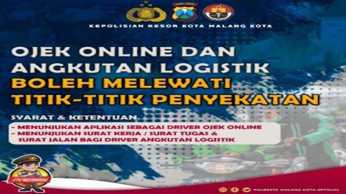 Polresta Malang Kota Izinkan Ojek Online dan Angkutan Logistik Melintas Titik Penyekatan