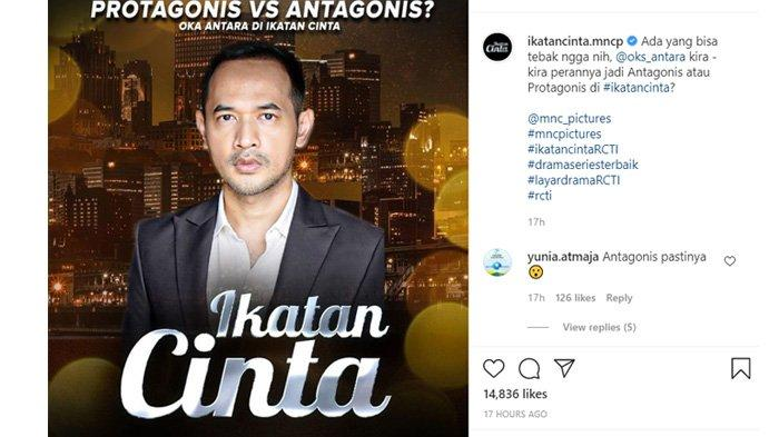 Oka Antara jadi tokoh baru di Sinetron Ikatan Cinta malam ini Kamis 23 September 2021
