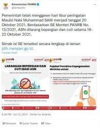 Update Libur Maulid Nabi 2021, ASN Dilarang Cuti dan Bepergian ke Luar Kota pada 18-22 Oktober 2021