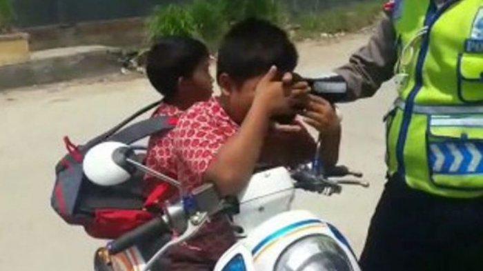 Bocah SD Menangis Kena Tilang Polisi saat Tabligh Akbar Ustadz Abdul Somad, Videonya Viral