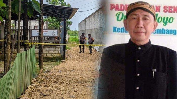 Polisi berjaga di TKP pembunuhan satu anggota keluarga dalang ki Anom Subekti di Padepokan Seni Ongkojoyo, Desa Turusgede, Kecamatan Rembang, Kamis (4/2/2021).