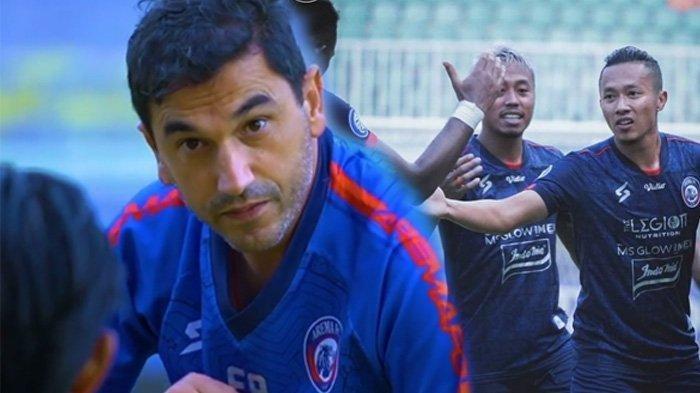 Pelatih Eduardo Almeida (kiri) dan pemain Arema FC (kanan) siap mengalahkan Persela Lamongan
