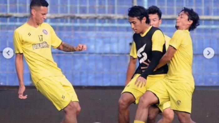 Pemain Arema FC sedang berlatih guna persiapan Liga 1 2020