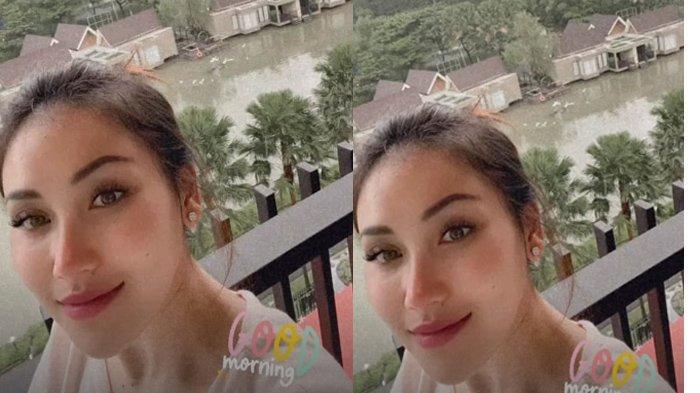 Pemandangan dari kamar villa Ayu Ting Ting di Puncak