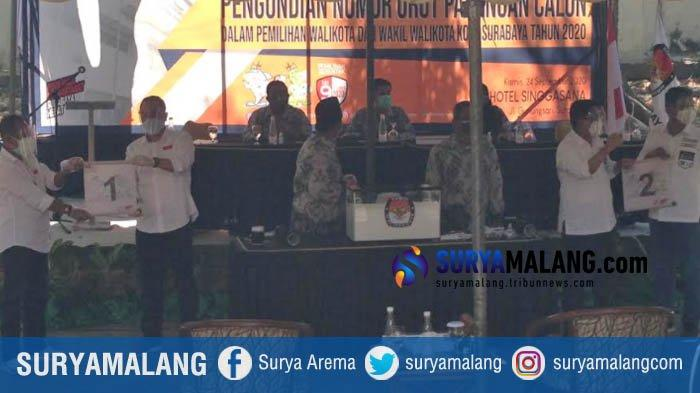 Breaking News, Pengundian Nomor Urut Pilwali Surabaya 2020 Selesai, Eri-Armuji 1, Machfud-Mujiaman 2