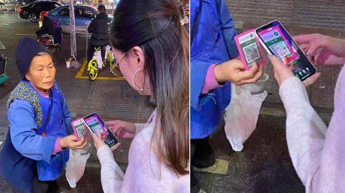 Pengemis Canggih Viral di Facebook, Pakai Scan Barcode Smartphone Untuk Terima Sumbangan, Cashless!