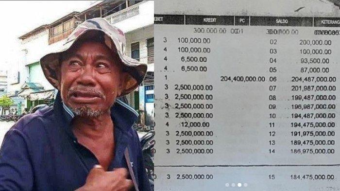 Potret kakek Makmur semasa hidup dan salinan transaksi di rekening ATMnya