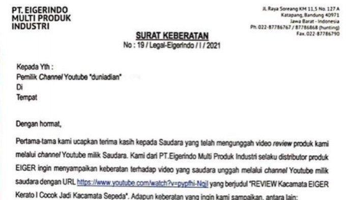 Penggalan surat keberatan Eiger kepada Dian Widiyanarko terkait video review di YouTube.
