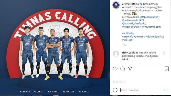 Pengumuman Arema FC tentang pemanggilan 5 pemain oleh Timnas