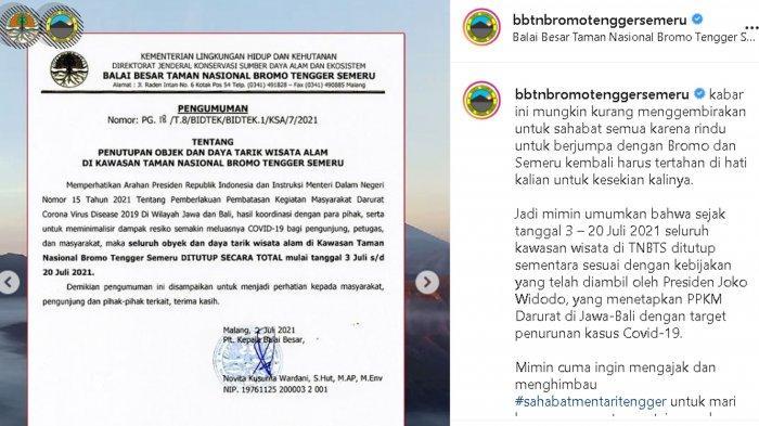 Pendakian Semeru dan Wisata Bromo TUTUP Sementara Masa PPKM Darurat Mulai 3 -20 Juli 2021