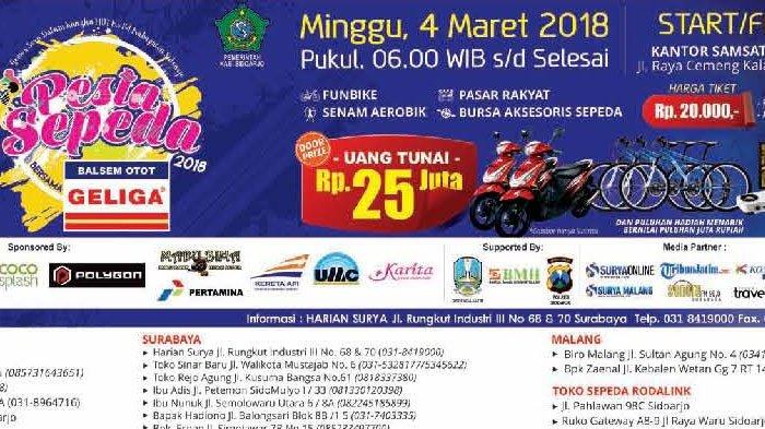Pesta Sepeda Sidoarjo Berhadiah Rp 25 Juta dan 2 Sepeda Motor Serta Banyak Lagi