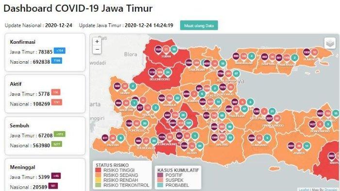 Daftar Zona Merah Jatim Hari Ini Kamis 24 Desember 2020: Kediri, Kota Malang, Tuban dan Tulungagung