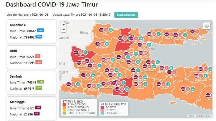 Daftar Zona Merah Jatim Hari Ini Jumat 8 Januari 2021: Kabupaten Blitar, Lamongan, dan Ngawi