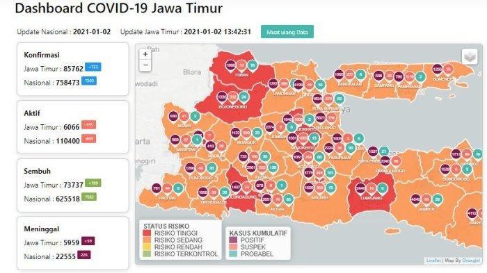 Daftar Zona Merah Jatim Hari Ini Minggu 3 Januari 2021: Bojonegoro, Kota Malang, Mojokerto, Blitar
