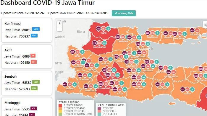 Peta zona merah Covid-19 Jatim update Minggu 27 Desember 2020