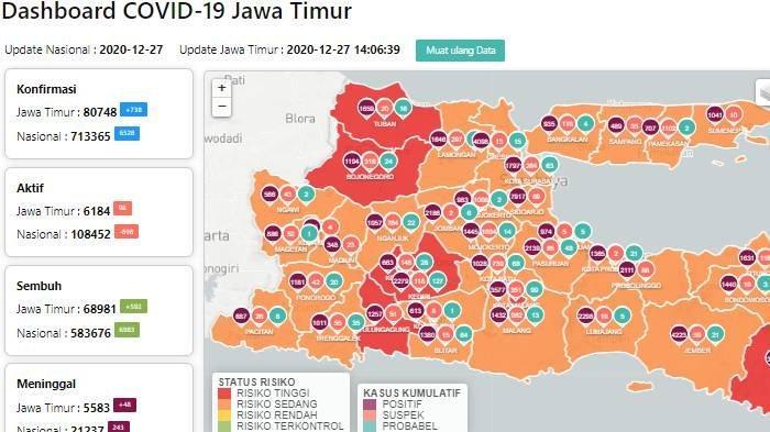 Peta zona merah Covid-19 Jatim update Senin 28 Desember 2020