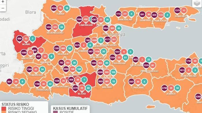 Daftar Zona Merah Jatim Hari Ini Jumat 8 Januari 2021: Blitar, Lamongan, Ngawi Merah, Tuban Oranye