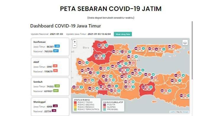 Daftar Zona Merah Jatim Hari Ini Minggu 3 Januari 2021: Kota Madiun, Lumajang, Bojonegoro, Malang