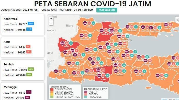 Daftar Zona Merah Jatim Hari Ini Rabu 6 Januari 2021: Lamongan, Ngawi dan Kabupaten Blitar