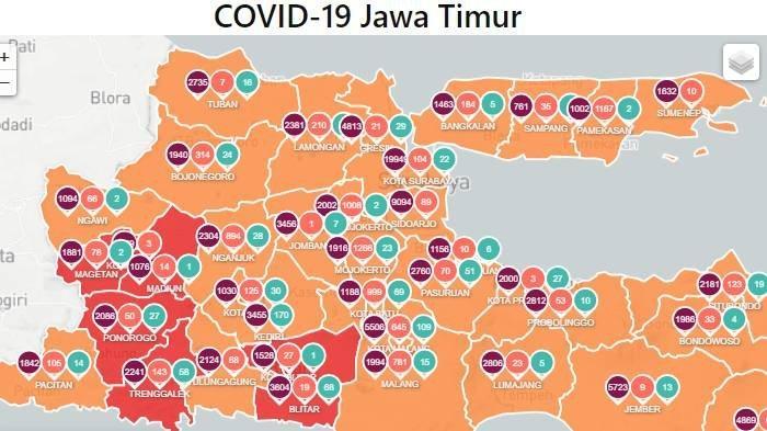 Daftar Zona Merah Jawa Timur Hari Ini Selasa 2 Februari 2021: Kota Madiun, Kota Blitar & Ponorogo