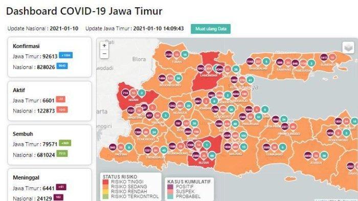 Daftar Zona Merah Jatim Hari Ini Senin 11 Januari 2021: Lamongan, Ngawi, Blitar & PSBB Malang Raya