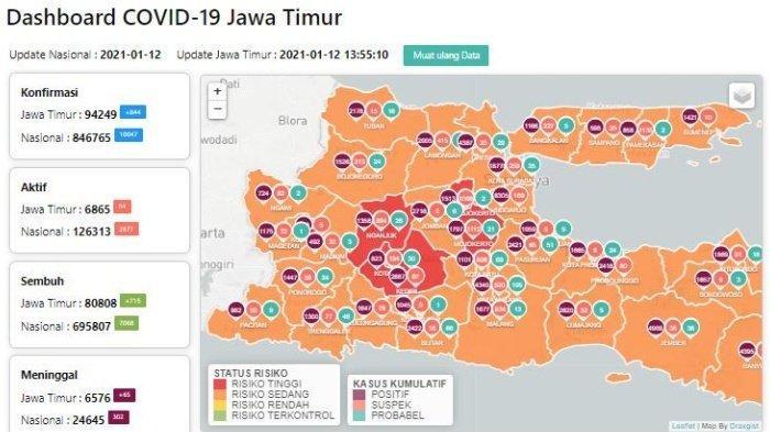 Daftar Zona Merah Jatim Hari Ini Rabu 13 Januari 2021: Kediri, Mojokerto, Nganjuk & PSBB Malang Raya
