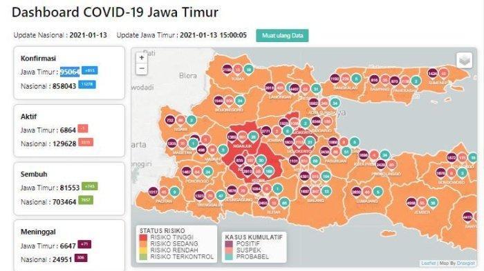 Peta zona merah Jatim 14 Januari 2021