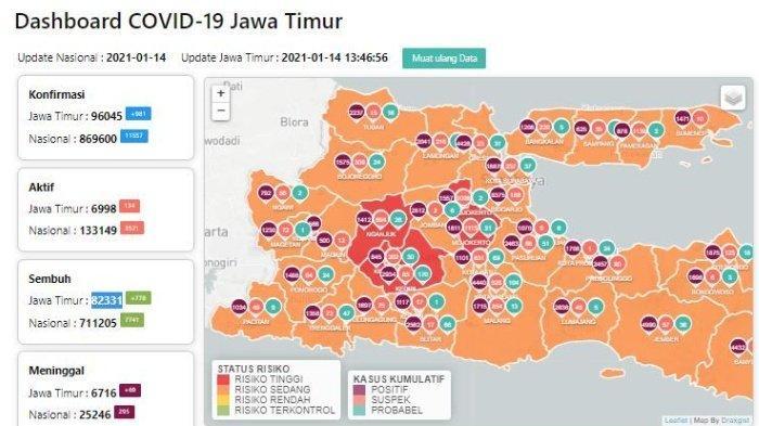 Daftar Zona Merah Jatim Hari Ini Jumat 15 Januari 2021: Kediri, Madiun, Nganjuk & PSBB Malang Raya