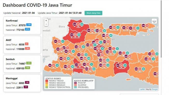 Daftar Zona Merah Jatim Hari Ini Senin 4 Januari 2021: Mojokerto, Kota Blitar, Tuban, Lumajang
