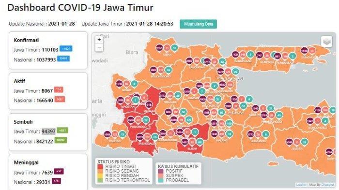 Zona Merah Jawa Timur Hari Ini Jumat 29 Januari 2021: Ada 7 Daerah Termasuk Ponorogo, Madiun, Blitar