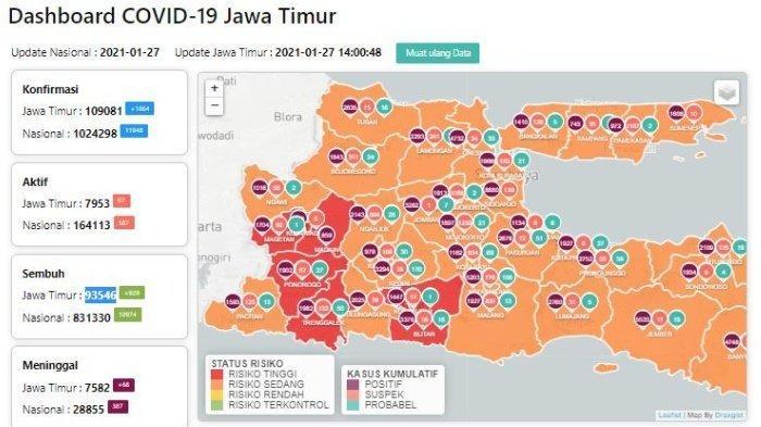 Zona Merah Jawa Timur Hari Ini Kamis 28 Januari 2021: Ada 7 Daerah Termasuk Blitar, Madiun, Ponorogo