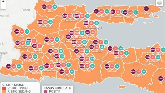 Peta zona oranye Jawa Timur, tidak ada zona merah Covid-19