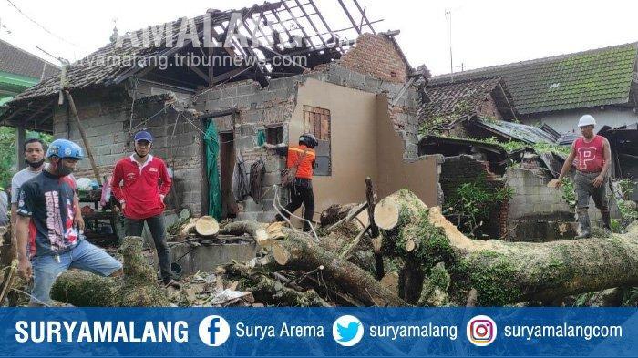 Diterjang Angin Kencang, Pohon Tumbang Menerjang Tiga Rumah Warga di Kota Blitar