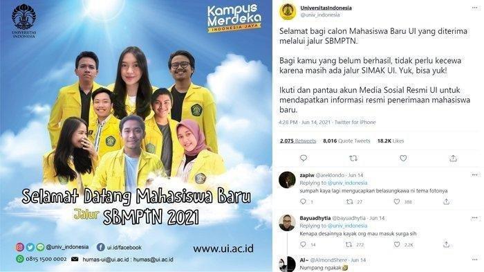 Poster sambutan maba UI yang viral jadi kontroversi diunggah di Twitter
