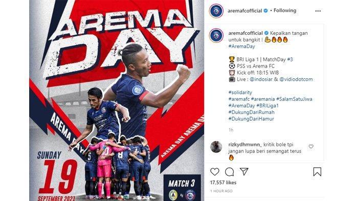 Postingan Arema Official mengingatkan Aremania tentang pertandingan lawan PSS Sleman hari ini