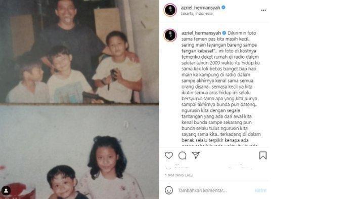 Postingan Azriel Hermansyah mengunggah foto lawas bersama Aurel dan Anang