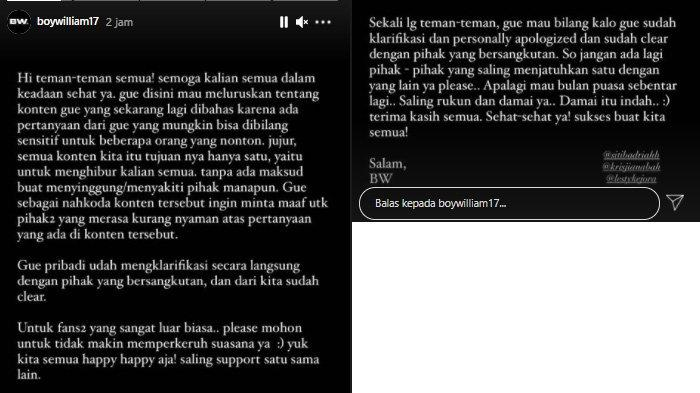 Postingan Boy Willam meminta maaf menyebut suara Siti Badriah jelek dan mengaku masalah sudah beres