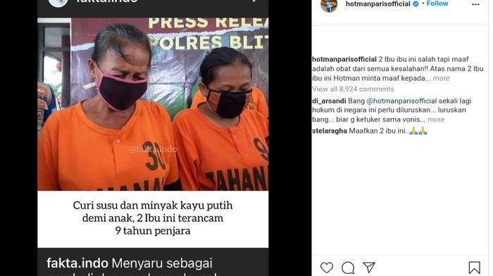 Postingan Hotman Paris di Instagram menanggapi aksi pencurian 2 ibu-ibu di Blitar