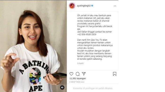 Postingan Instagram Ayu Ting Ting, endorse gratis review makanan