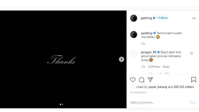 Postingan Instagram Gading Marten @gadiiing slide pertama banjir simpati netizen (akun Instagram @gadiiing)